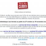 La bibliothèque sera fermée au public jusqu'au 13 décembre 2020