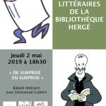 Retrouvez les livres et les coups de cœur d'Emmanuel Guibert – «De surprise en surprise» : balade littéraire avec Emmanuel Guibert le jeudi 2 mai 2019 à 18h30